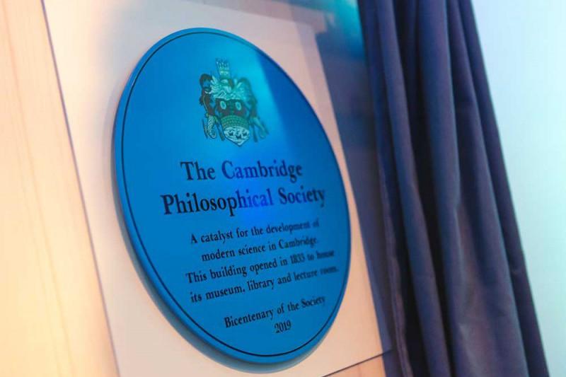 Cambridge Philosophical Society Blue Plaque at 17 All Saints Passage, Cambridge.